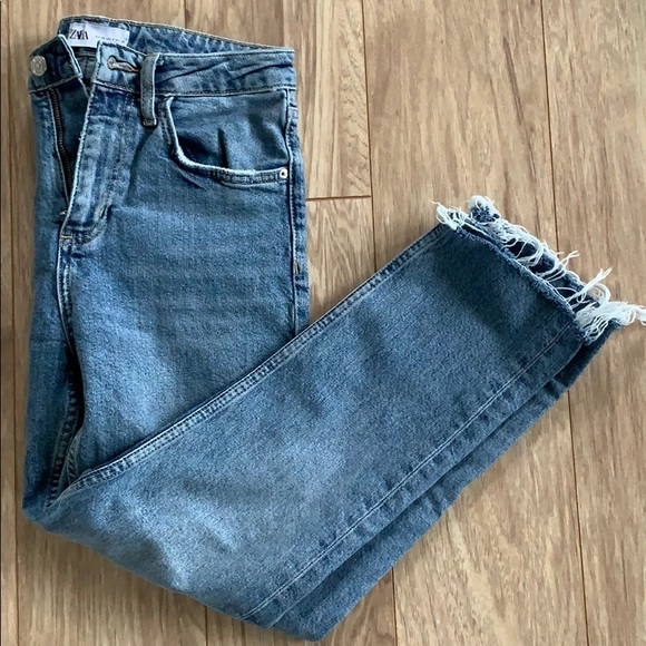 ZARA Straight Leg Jeans, Light Damaged Look